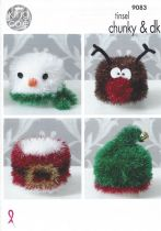 King Cole Tinsel Chunky - 9083 Christmas Toilet Roll Covers Knitting Pattern